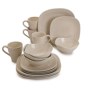 Mikasa® Swirl Square 16-Piece Dinnerware Set in Cr