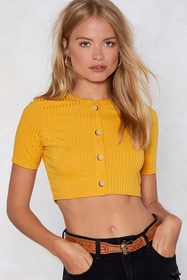 Nasty Gal Button Top of the World Cropped Top