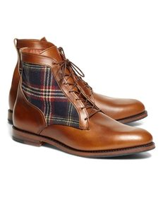Brooks Brothers Leather and Signature Tartan Boots