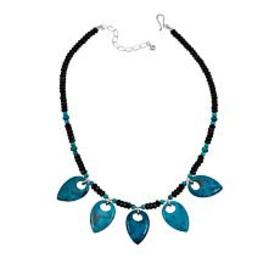"Jay King Turquoise and Black Agate 18"" Sterling Si"