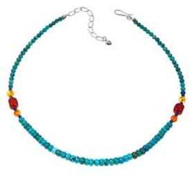 "Jay King Turquoise Multigemstone 18"" Sterling Silv"