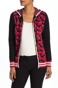 Anna Sui Cherries & Hearts Zip-Up Knit Hoodie