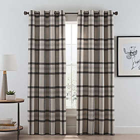 Wool Plaid Grommet Room Darkening Window Curtain P