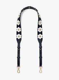 Michael Kors Floral Appliqué Leather Shoulder Stra