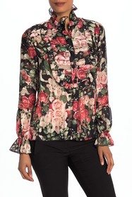Anna Sui Rose Garland Crepe Blouse