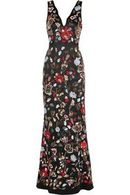 ALICE + OLIVIA Elsa embroidered satin gown