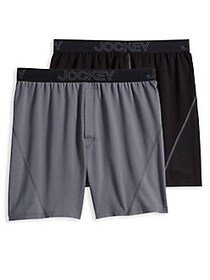 Jockey 2-Pack No Bunch Boxers BLACK GREY