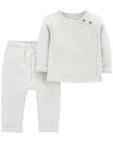 carters Baby Girl 2-Piece Quilted Heather Top & Pa