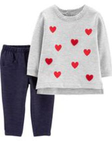 carters Baby Girl 2-Piece Valentine's Day Top & Je