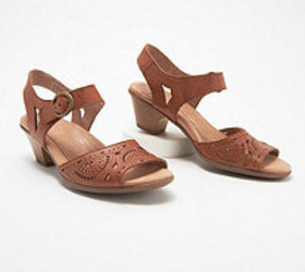 Earth Leather Two-Piece Heeled Sandals- Carson Wes