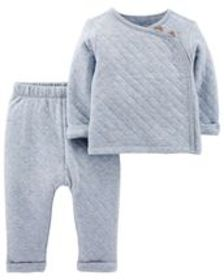 carters Baby Boy 2-Piece Quilted Heather Top & Pan