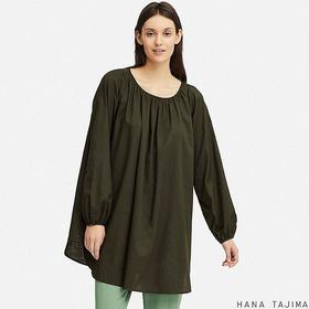 WOMEN GATHERED LONG-SLEEVE TUNIC (HANA TAJIMA)