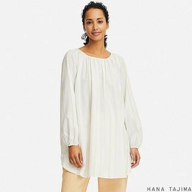 WOMEN GATHERED STRIPED LONG-SLEEVE TUNIC (HANA TAJ