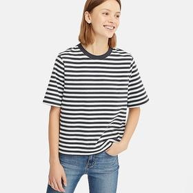 WOMEN STRIPED CROPPED CREW NECK SHORT-SLEEVE T-SHI