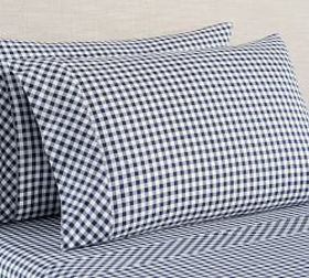 Pottery Barn Gingham Check Organic Sheet Set - Nav
