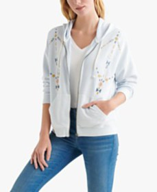 Lucky Brand Cotton Embroidered Zippered Hoodie
