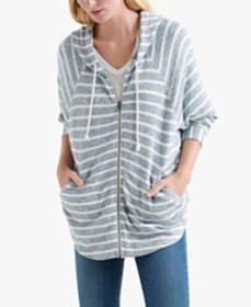 Lucky Brand Cotton Striped Zippered Hoodie