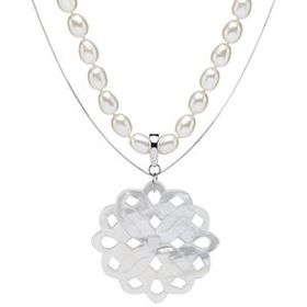 Mother of Pearl 3-piece Flower Pendant Necklace Se