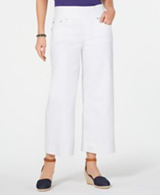 Style & Co Pull-On White Cropped Wide-Leg Jeans, C