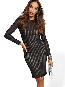 Black Mesh Stripe Sheath Dress - New York & Compan