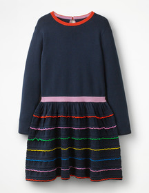 Boden Rainbow Ruffle Knitted Dress
