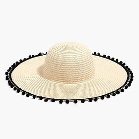 J. Crew Factory factory womens Straw hat with pom-