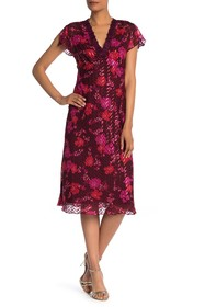 Anna Sui Scattered Flowers Silk Blend Chiffon Dres