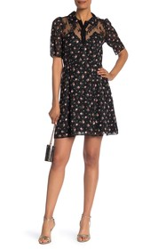 Anna Sui Blooming Buds Clipped Jacquard Lace Dress