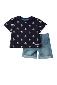 HUDSON Jeans Reverse French Terry T-Shirt & Shorts