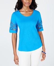 Charter Club Cotton Lace-Trimmed Top, Created for