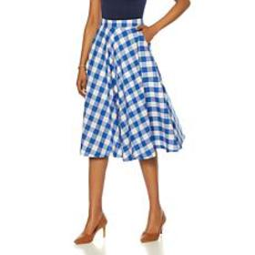 Wendy Williams Gingham Cotton Circle Skirt with Po