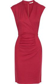 HALSTON HERITAGE Wrap-effect ruched wool dress