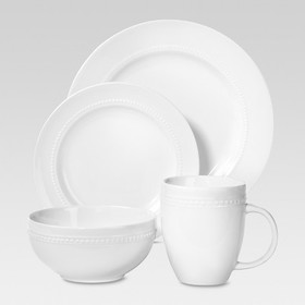 Porcelain 16pc Dinnerware Set White Beaded Rim - T