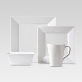 Basic White Porcelain 16pc Dinnerware Set White -