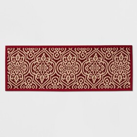 "60""x22"" Medallion Kitchen Runner Red - Threshold&#"