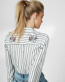 Express striped embroidered city shirt by express
