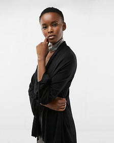 Express petite ruched sleeve roll neck cardigan