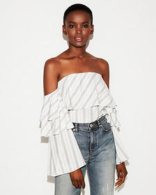 Express striped off the shoulder tiered ruffle blo