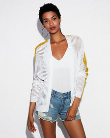 Express textured color block cotton cover-up