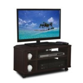 Furinno Indo Espresso TV Stand with Double Glass D