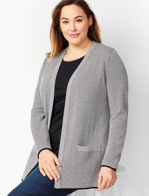 Talbots Plus Size Exclusive - Mini Jacquard Open-F