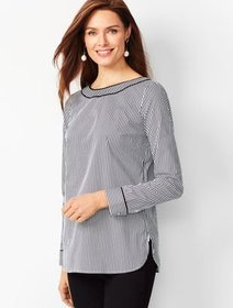 Talbots Piped Poplin Tunic - Stripe