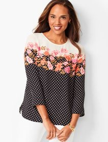 Talbots Floral Dot Top