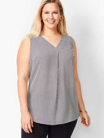 Talbots Plus Size Exclusive Front Pleat Top - Diam