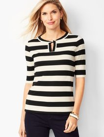 Talbots Twisted Keyhole Top - Stripe