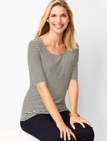 Talbots Platinum Jersey Scoop-Neck Top - Stripe