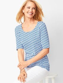 Talbots Platinum Jersey Scoop-Neck Top - Geo Print