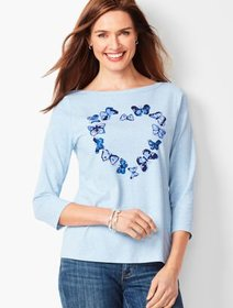 Talbots Cotton Bateau-Neck Tee - Fluttering Heart
