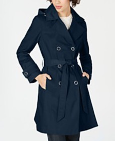 Anne Klein Double-Breasted Hooded Water Resistant