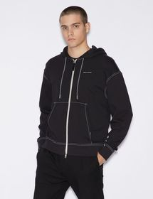 Armani SWEATSHIRT WITH HOOD AND CONTRASTING STITCH